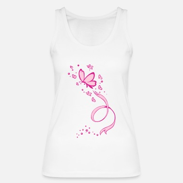 Breast Cancer Ribbon Pink Butterflies Ribbon Breast Cancer Awareness - Women's Organic Tank Top by Stanley & Stella