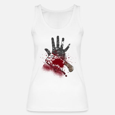 Horror Film Hand with blood and knife - Halloween design - Women's Organic Tank Top