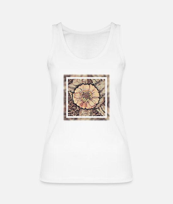 Garden Tank Tops - Flower in subtle sand colors - Women's Organic Tank Top white