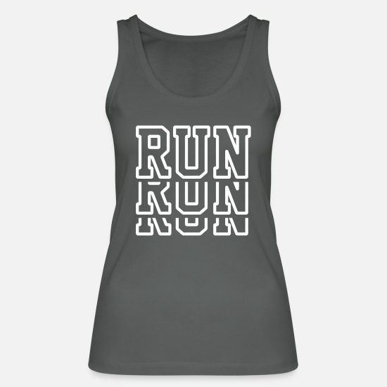 Triathlet Tank Tops - Run Run Run - Running Shirt - Marathon - Jogger - Women's Organic Tank Top charcoal