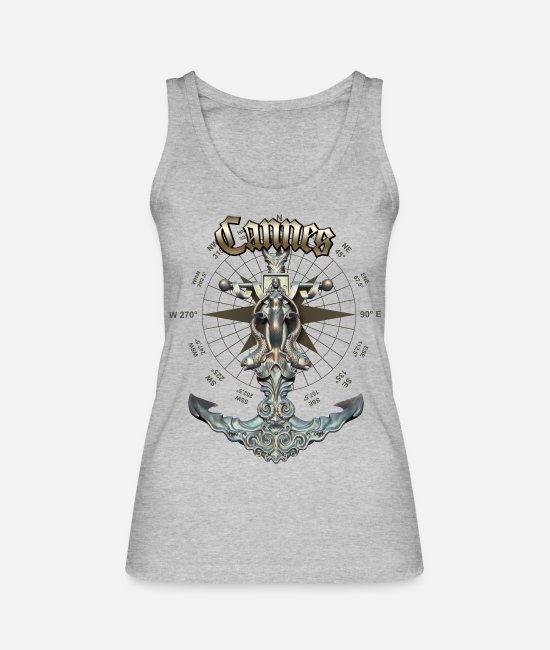 Diver Tank Tops - Cannes Anchor Nautical Sailing Boat Summer - Women's Organic Tank Top heather grey