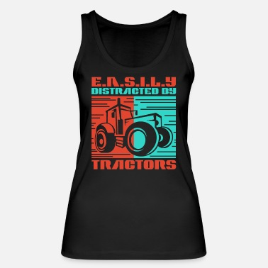 Trecker, Bulldog, Easily Distracted By Tractors - Women's Organic Tank Top
