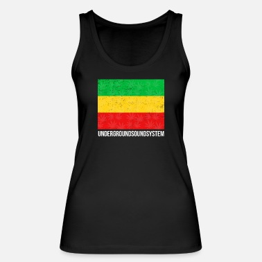 Gold RED GOLD and GREEN Reggae Banner - Frauen Bio Tanktop
