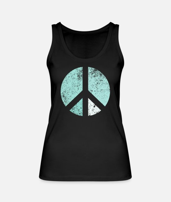 Festivals Tank Tops - Retro peace sign turquoise-green - Women's Organic Tank Top black