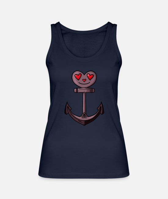Love Tank Tops - Amorous anchor love - Women's Organic Tank Top navy
