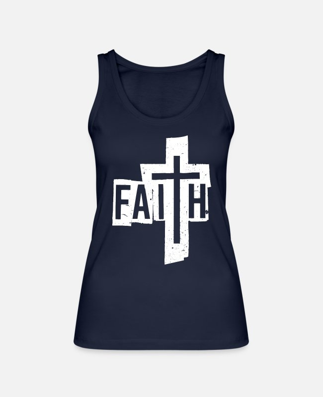 Hipster Tank Tops - Christian Faith & Cross Letters T-Shirt - Frauen Bio Tanktop Navy