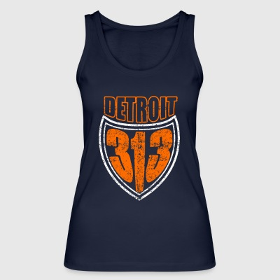 Detroit 313 T Shirt Distressed - Women's Organic Tank Top by Stanley & Stella