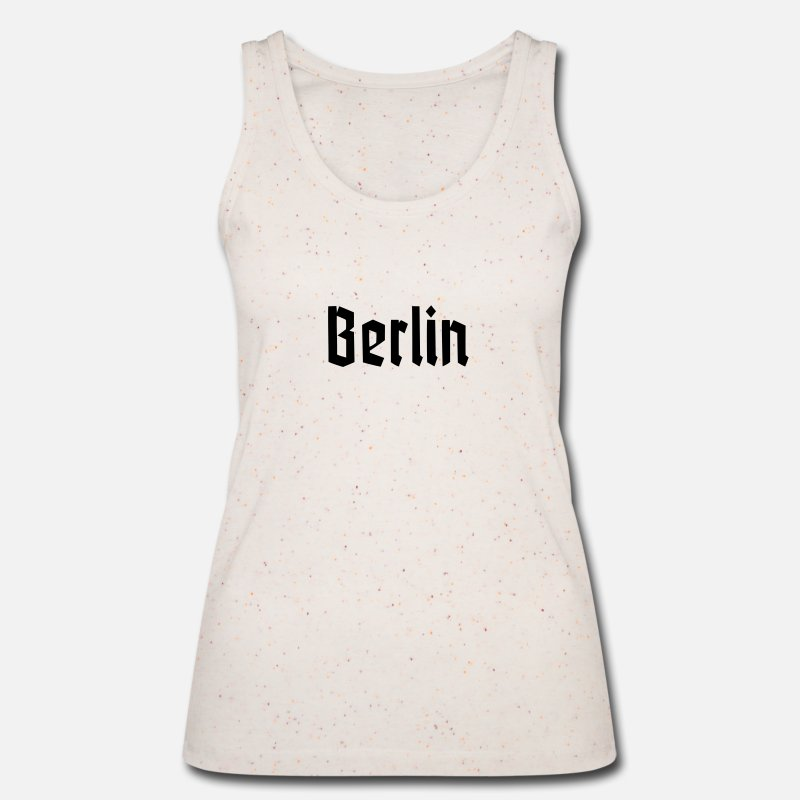 Bowie Tank Tops - BERLIN Fracture Font - Women's Organic Tank Top neppy creme