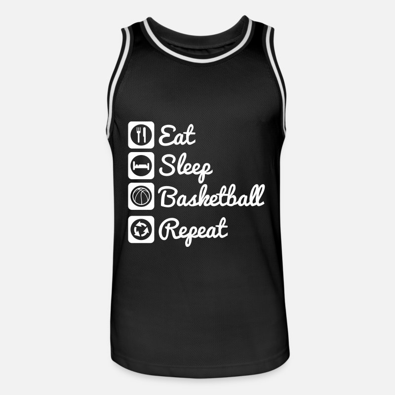Basket Tank Tops - Eat sleep basketball - Men's Basketball Jersey black/white