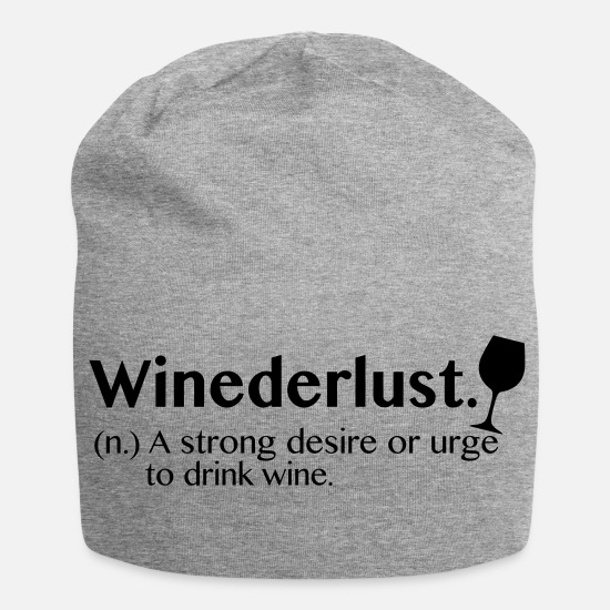 Wine Glass Caps & Hats - Winedlust / wine, gourmet, gift, - Beanie heather grey