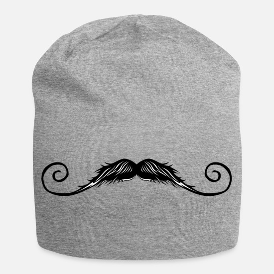 Mustache Caps & Hats - big mustache mustache 1703 x - Beanie heather grey