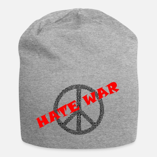 Peace Sign Caps & Hats - Peace - hate - Beanie heather grey