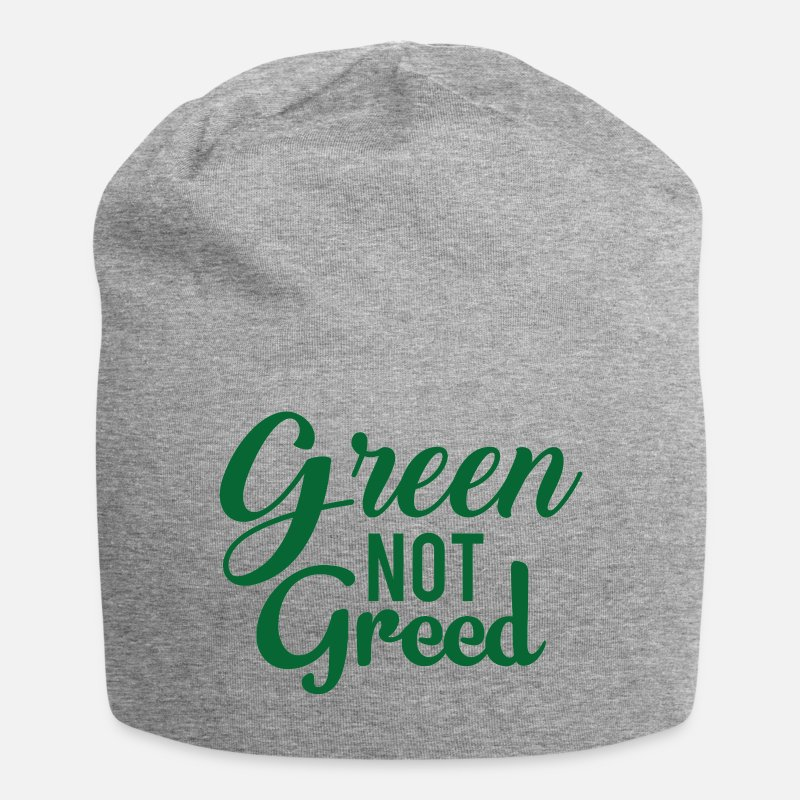Earth Day Caps & Hats - Earth Day / Earth Day: Green not greed - Beanie heather grey