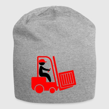 A Forklift Transporting A Box - Jersey Beanie
