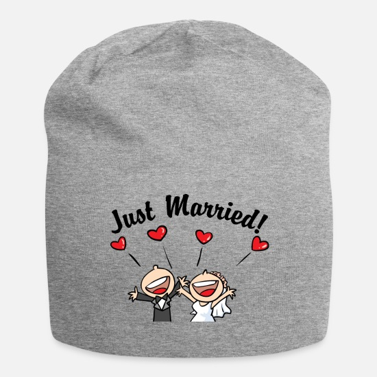 Wedding Caps & Hats - Just Married In Love - Beanie heather grey