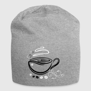 Coffee Cup with coffee beans and hearts. - Jersey Beanie