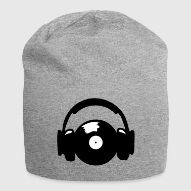 Headphones and vinyl record, 2 colors - Gorro holgado de tela de jersey