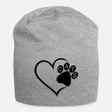 Pet Cat Cats Heart Paw Pet Animals Cat Cats sw - Jersey Beanie