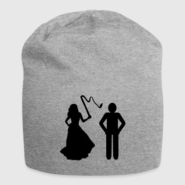 Marriage, Bride with whip & Groom - Bonnet en jersey