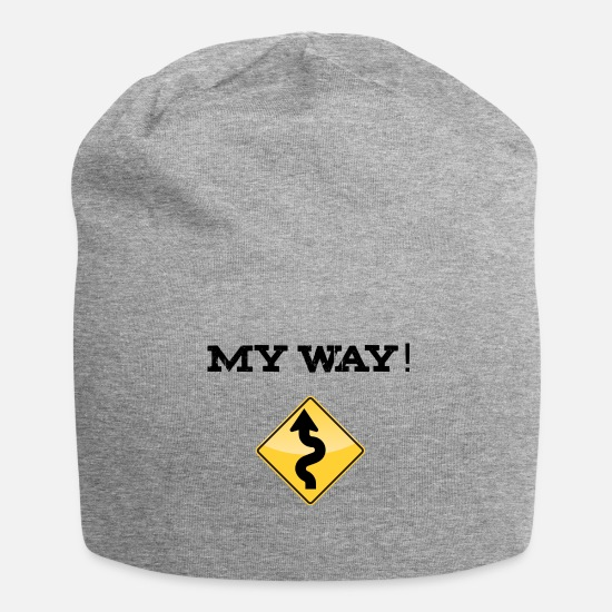 "Birthday Caps & Hats - ""My Way!"" Lettering with yellow traffic sign - Beanie heather grey"