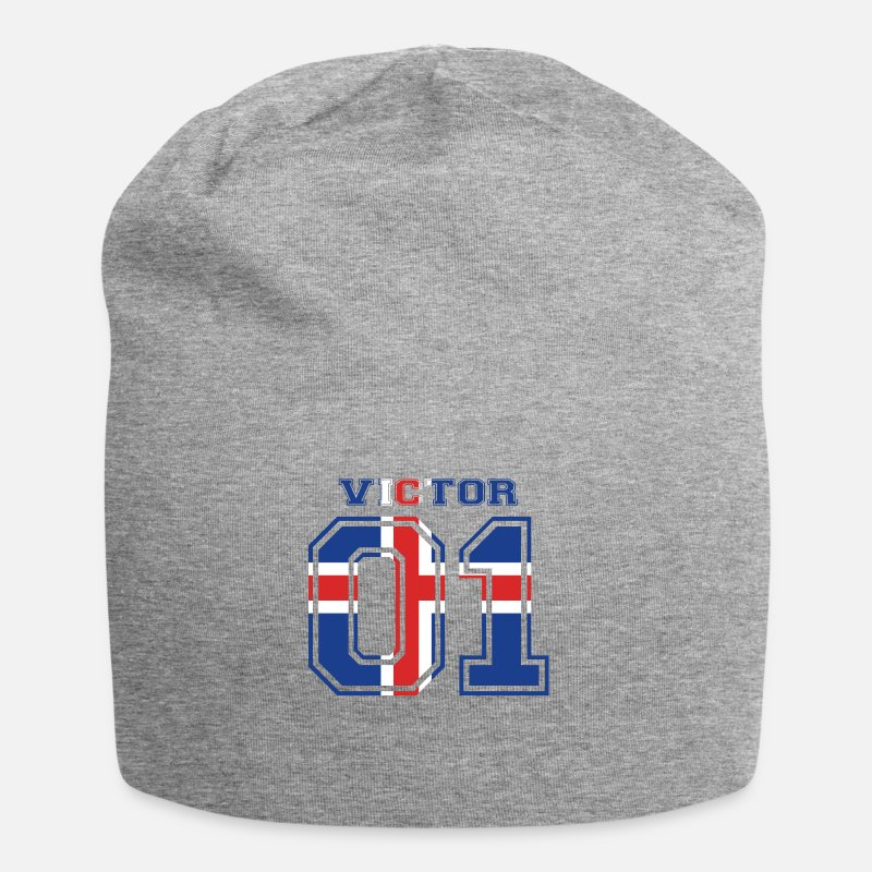 c2a1c881518e5 Vikingos Gorras y gorros - Inicio nombre arraigada Islandia VICTOR - Beanie  gris jaspeado