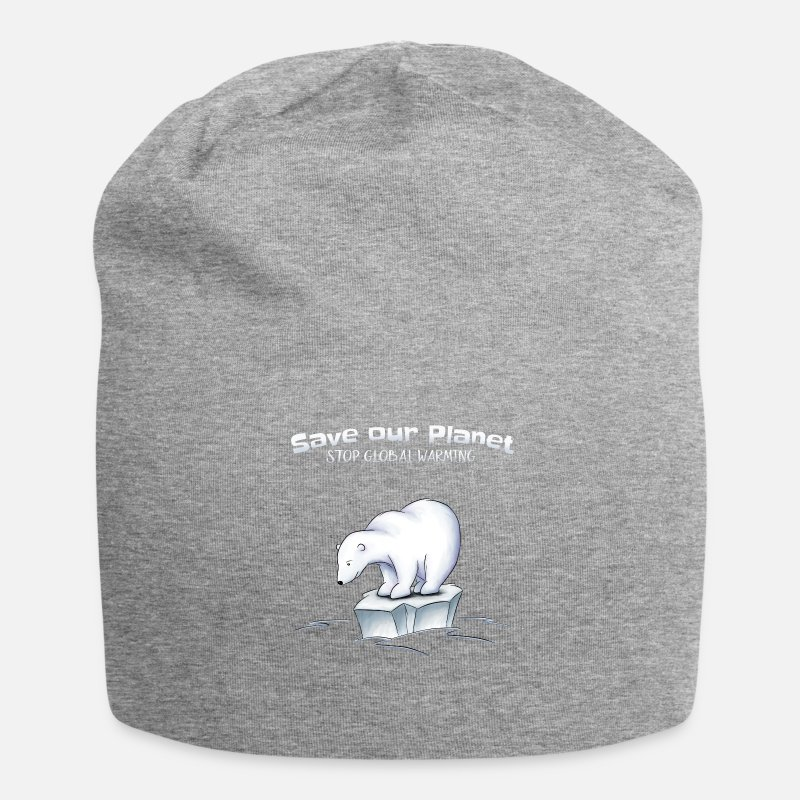 Global Caps & Hats - Polar Bear Save our planet stops global warming - Beanie heather grey