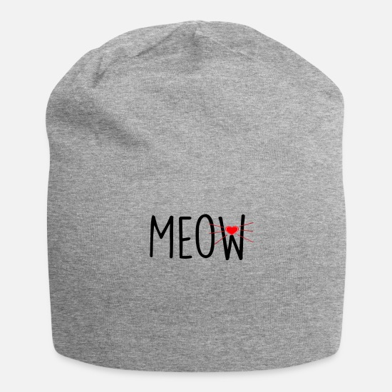 Love Caps & Hats - Meow! Cats gift - Beanie heather grey
