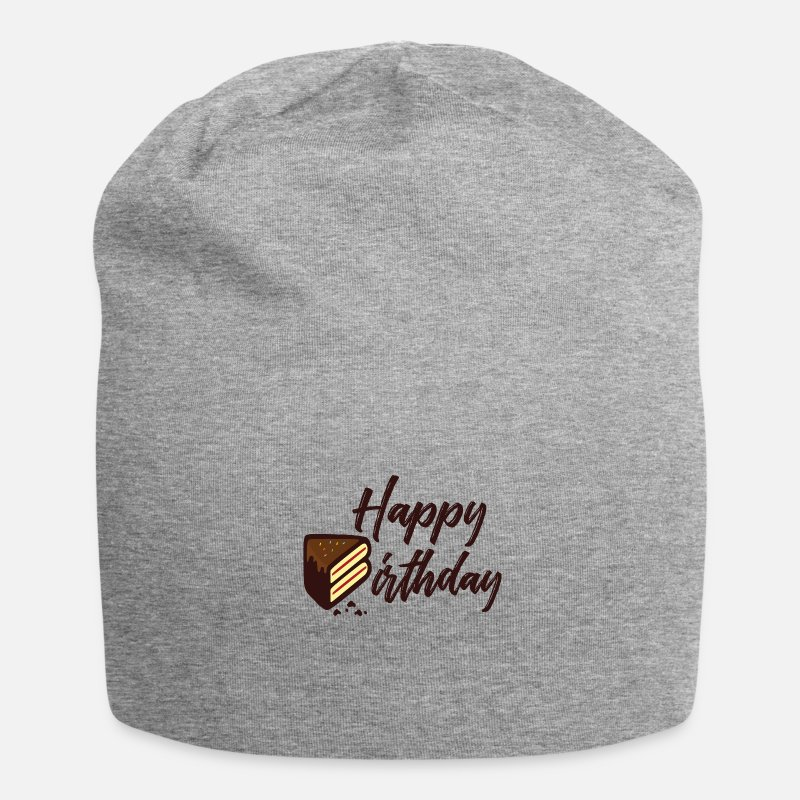 Cake Caps & Hats - Happy Birthday Cake - Beanie heather grey