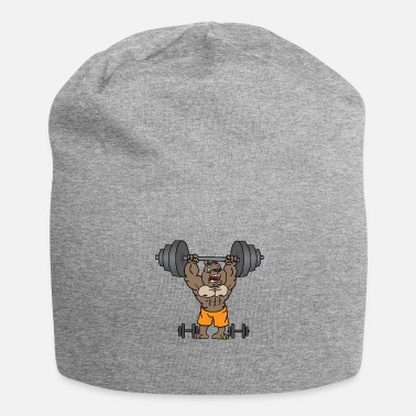 Weights Dog lifts weights in the gym gift - Jersey Beanie