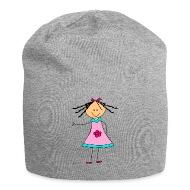 Püppi poupée fille ruban rose fleur , Bonnet en jersey
