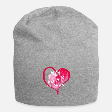 Gsm Valentijnsdag Mon Amour met witte letters - Jersey-Beanie