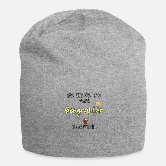 Geography Caps & Hats - Be nice to the Geographer Santa is watching - Beanie heather grey