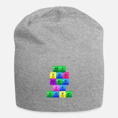 Fan Alles wat je nodig hebt is liefde Periodiek Table Elements Gift - Jersey-Beanie