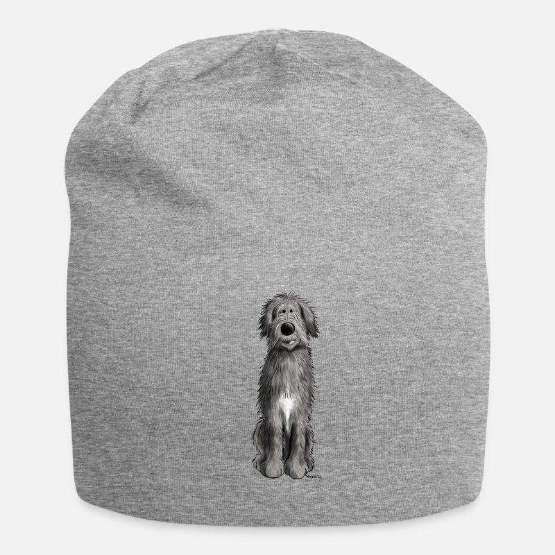 Animal Caps & Hats - Sweet Irish wolfhound - cartoon - comic - funny  - Beanie heather grey