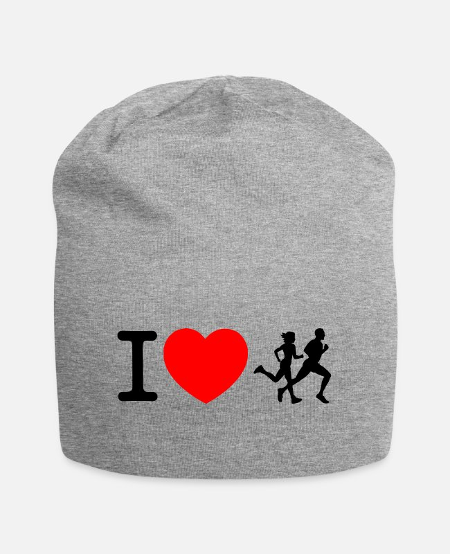 Heart Caps & Hats - I love racing - jogging - Beanie heather grey