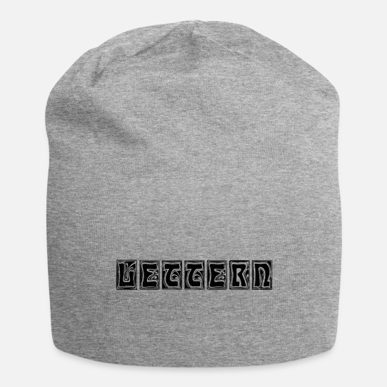 Typography Caps & Hats - Letters - typography letterpress letters - Beanie heather grey