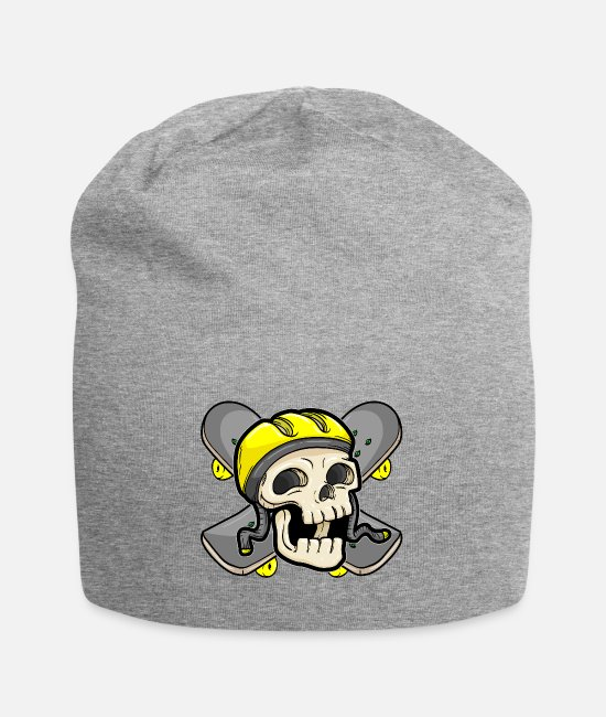 School Caps & Hats - Skull with skateboard and skater helmet - Beanie heather grey