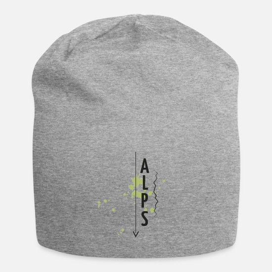 Mountains Caps & Hats - ALPS - MOUNTAINS - VERTICAL - GREEN - Beanie heather grey