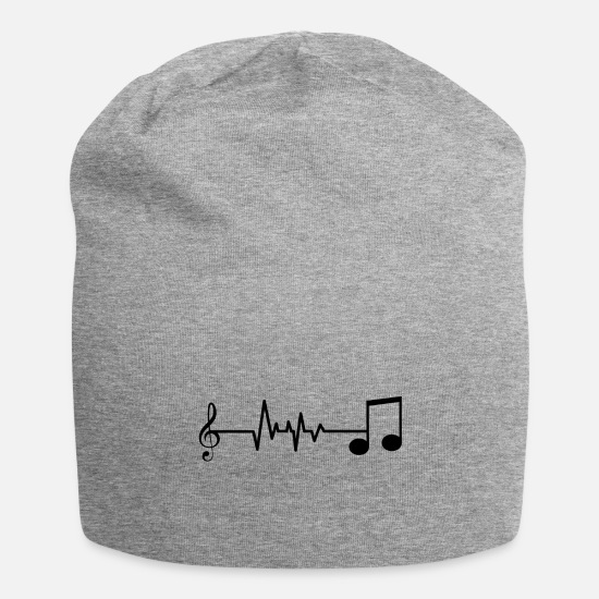 Music Note Caps & Hats - Heartbeat heartbeat music notes gift - Beanie heather grey