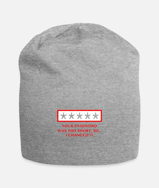 Coder Caps & Hats - Your password was too short so I changed it - Beanie heather grey