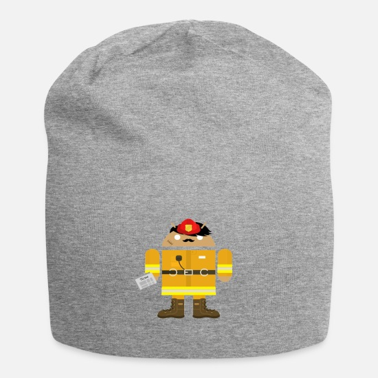 Fire Fighter Caps & Hats - Android as a firefighter. Gift for nerds - Beanie heather grey