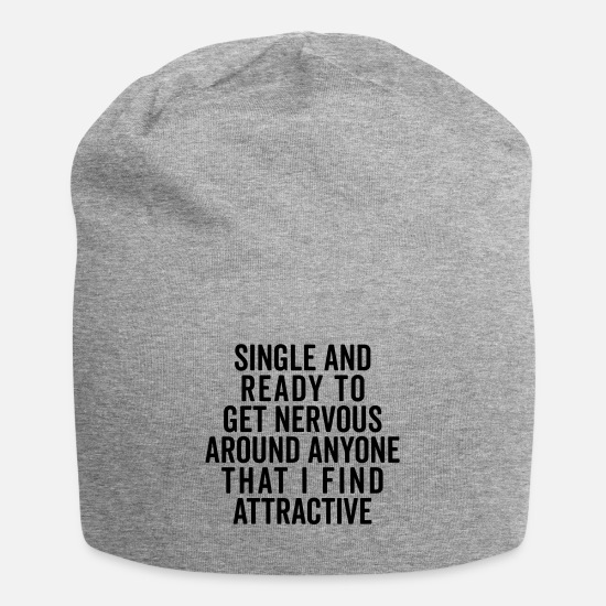 Slogan Petten & mutsen - Single And Nervous Funny Quote - Beanie grijs gemêleerd