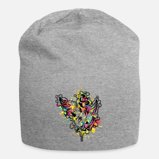 Spike Caps & Hats - Heart with thorns (Colour Splash) 01 - Beanie heather grey