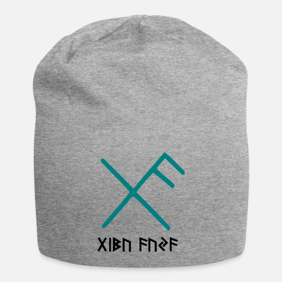 Viking Caps & Hats - Viking Good Luck Rune - Beanie heather grey