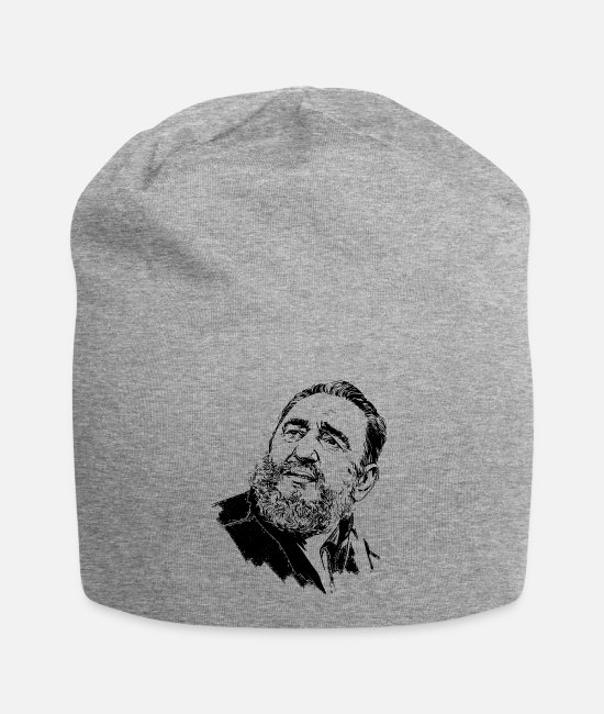 Cuba Caps & Hats - Cuba Fidel Castro portrait face TShirt - Beanie heather grey