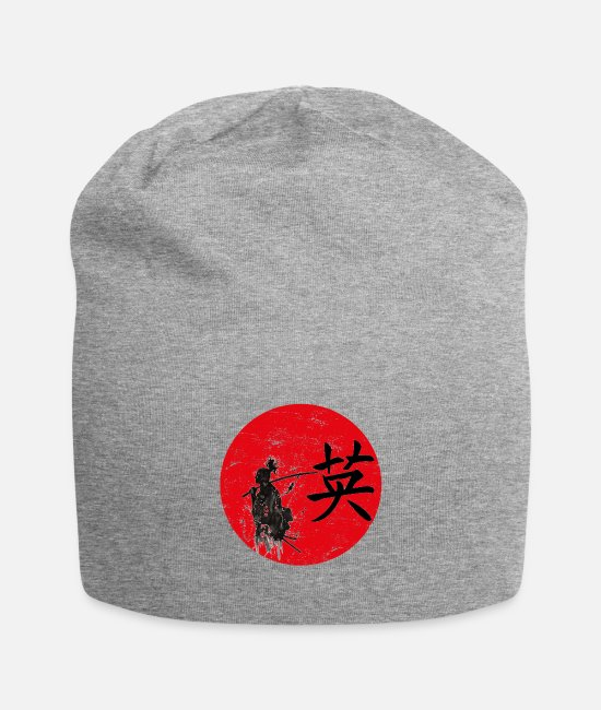 Typography Caps & Hats - courage mut japanese writing - Beanie heather grey