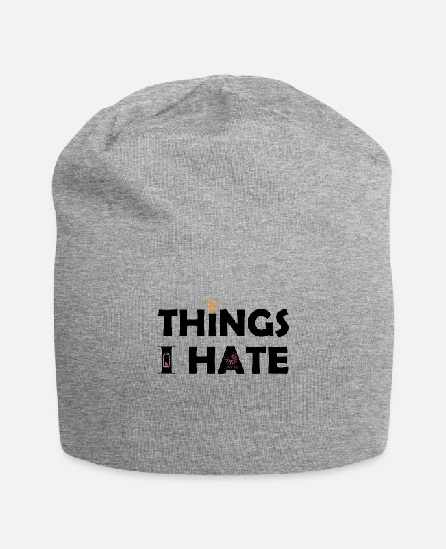Laptop Caps & Hats - Things I hate Things I hate - Beanie heather grey
