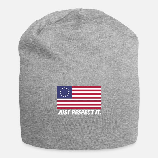 Patriot Caps & Hats - Just Respect It American Betsy Ross Flag Design - Beanie heather grey