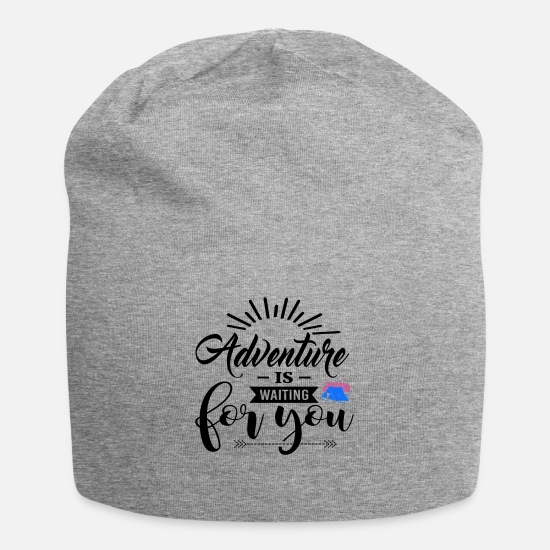 Mountains Caps & Hats - Adventure Is Waiting For You bw - Beanie heather grey