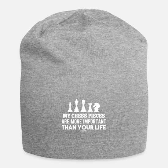 Chess Caps & Hats - Chess game king queen figure knight - Beanie heather grey